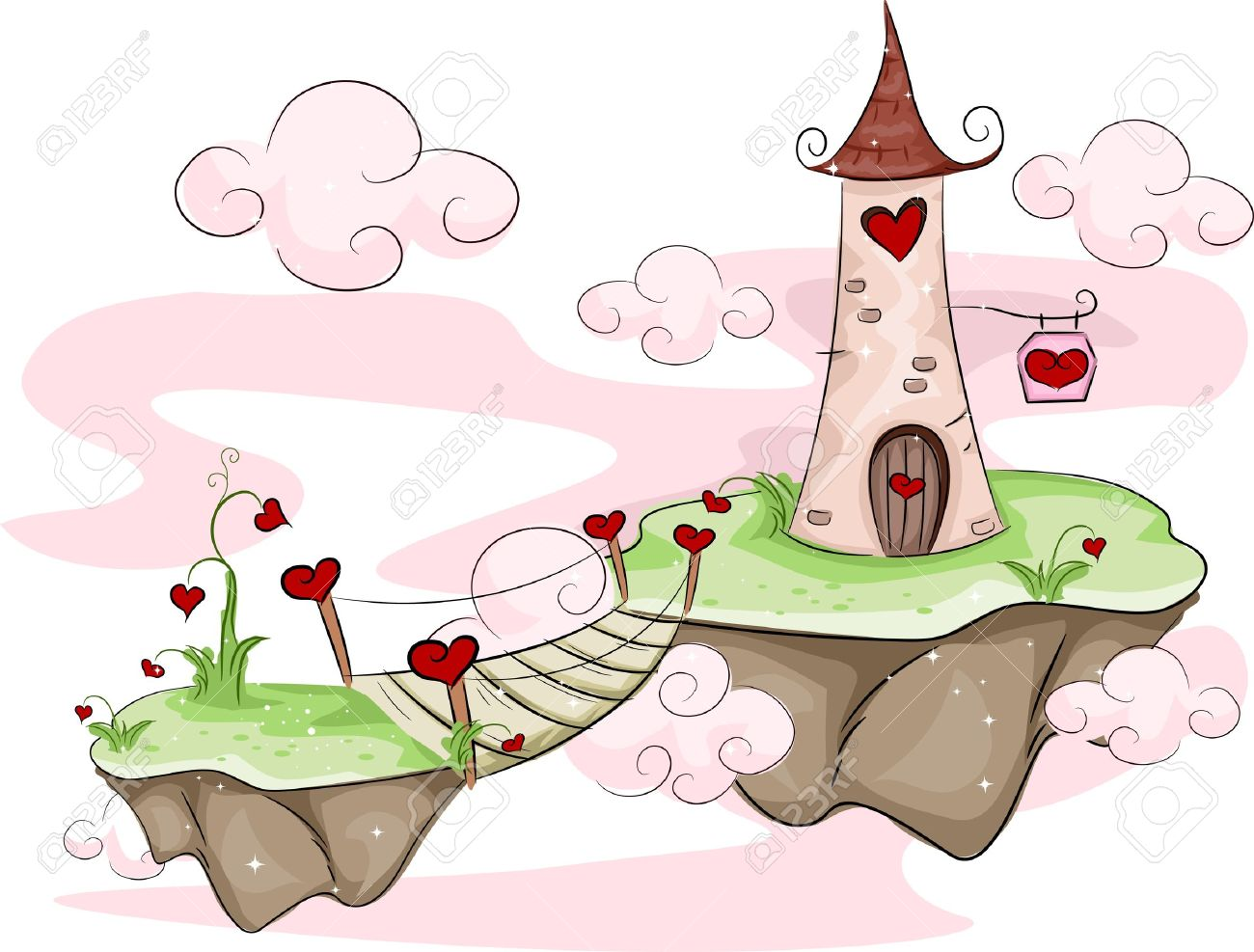 Illustration Of Floating Love Islands With A Tower And Bridge.