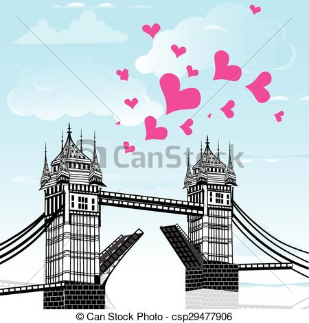 Vector Clipart of Tower Bridge with love heart as concept travel.