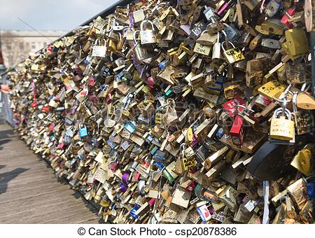 Pictures of Love padlocks on Bridge of arts in Paris, France.