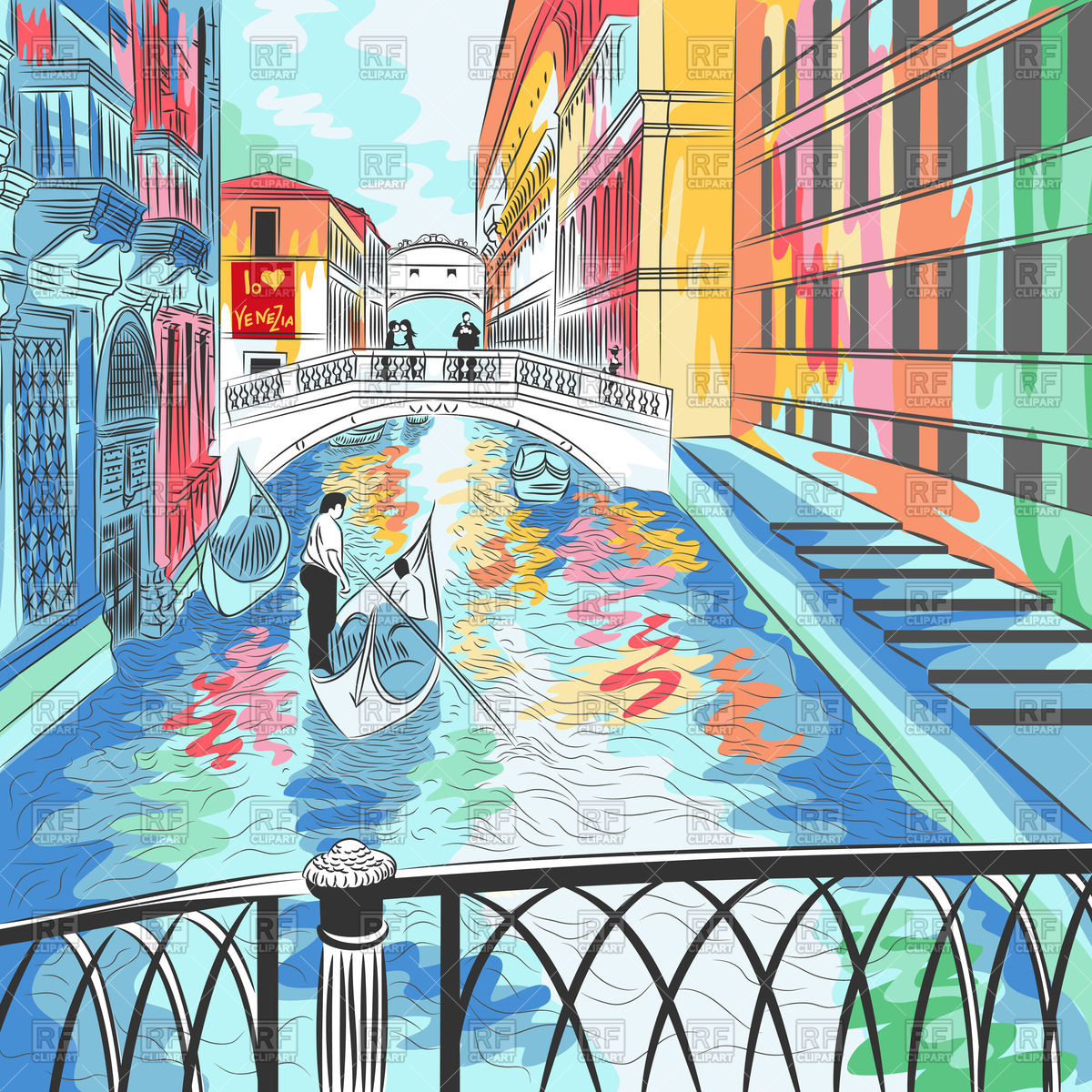 Color sketch of a cityscape wiyh Bridge of Sighs in Venice Vector.