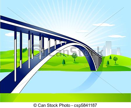 Clipart Bridge Over Water.
