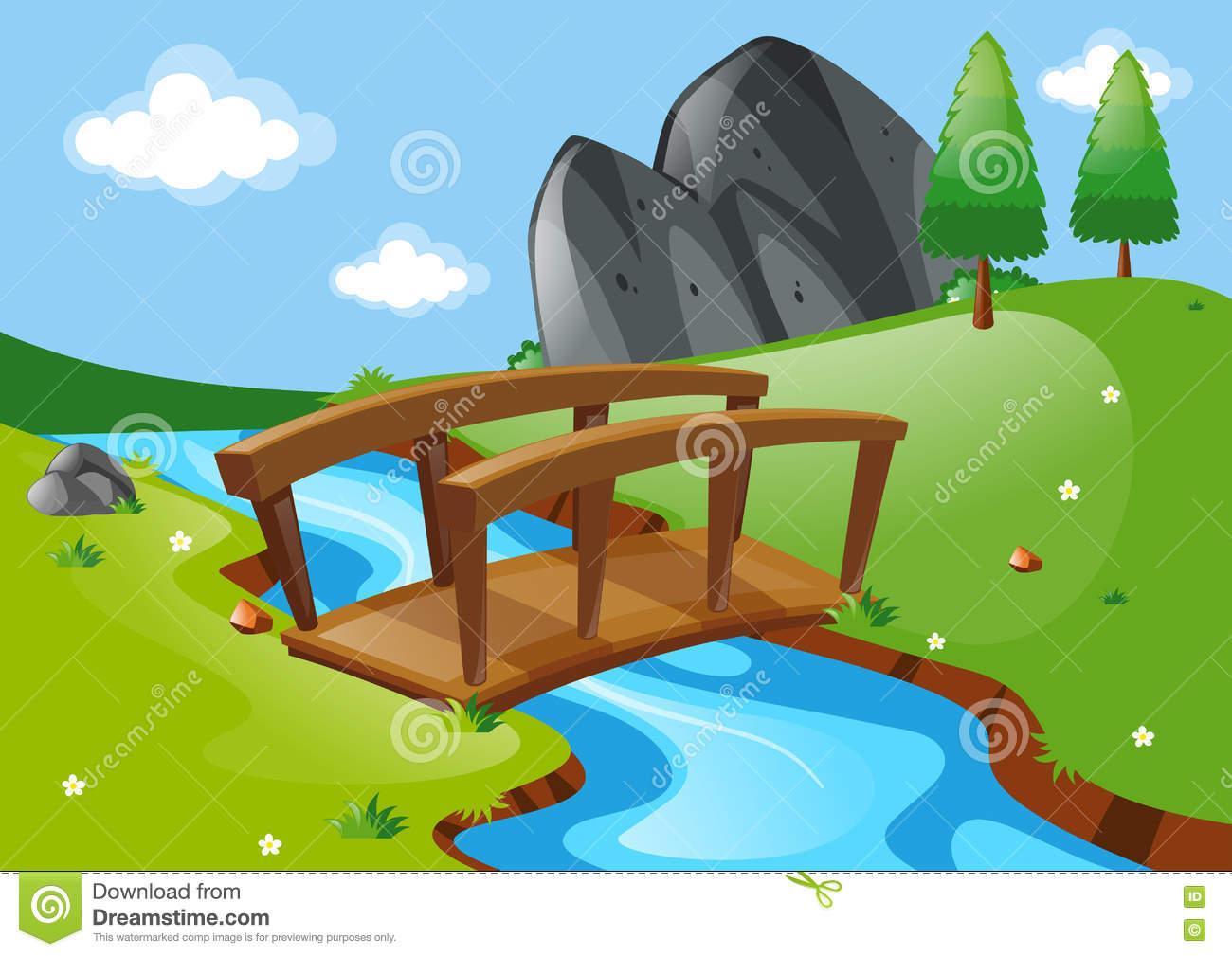 Scene With Bridge Over River Stock Illustration.