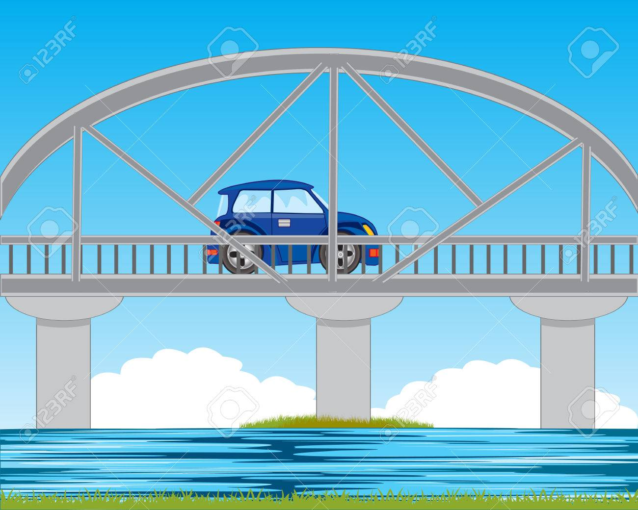 Bridge through river and blue car on him.