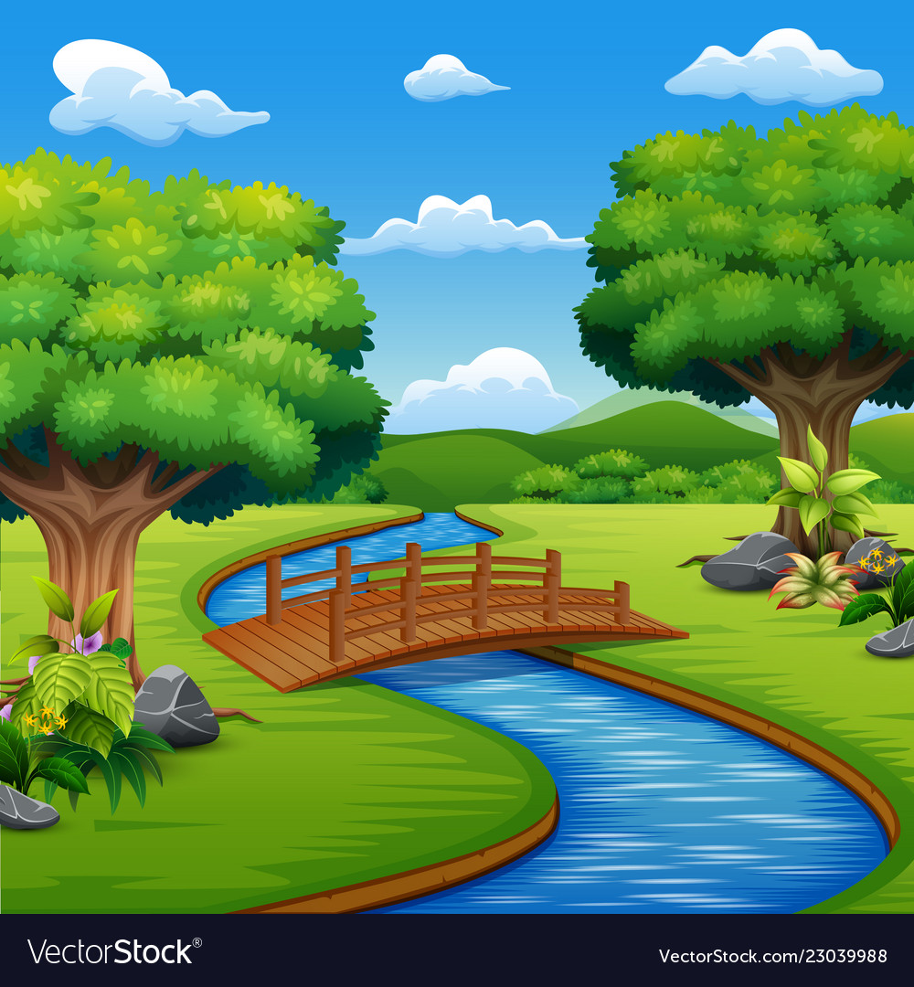 Background scene with bridge across in the park vector image.