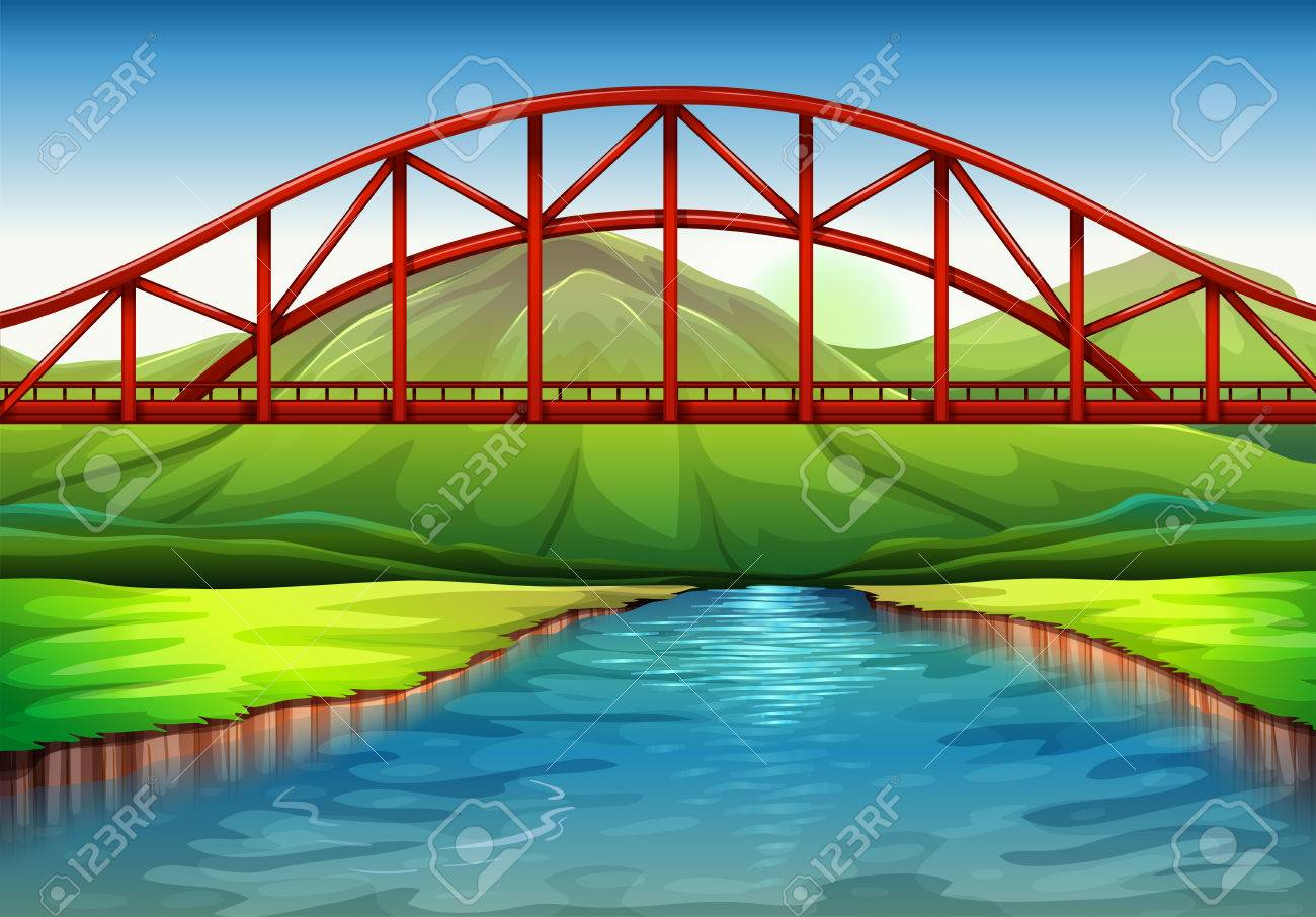 Illustration of a bridge above the river.
