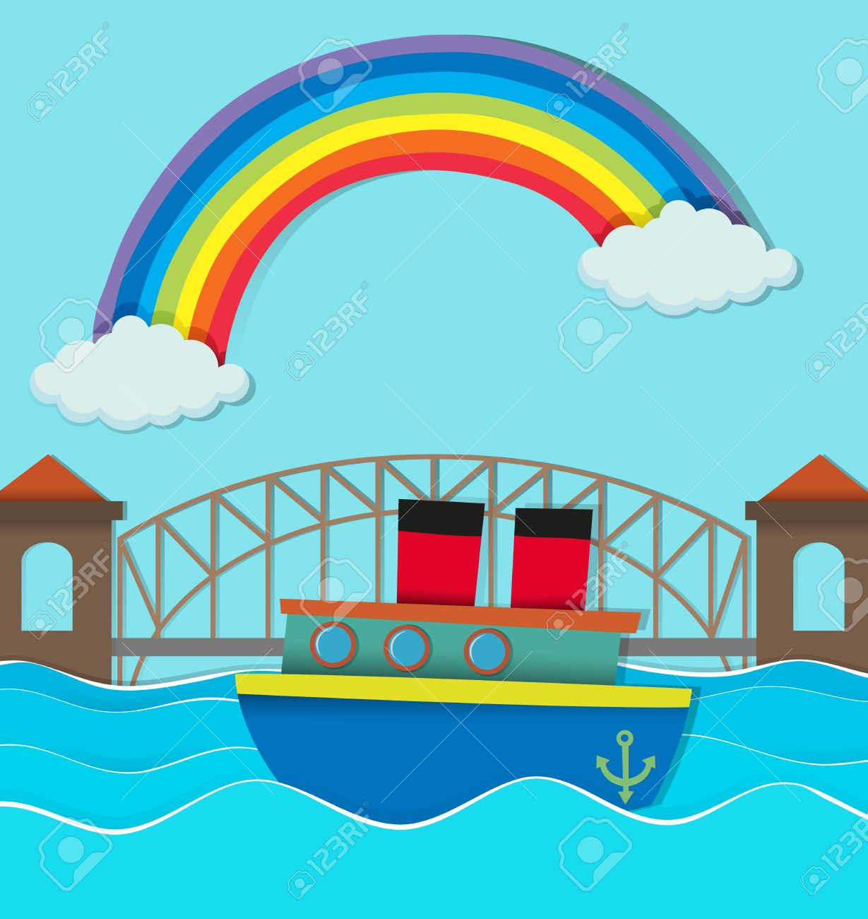 Bridge over river and boat on water illustration.