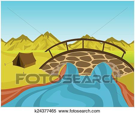 Bridge through river Clipart.