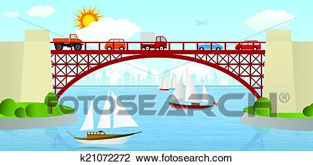 Bridge over the river Clipart.