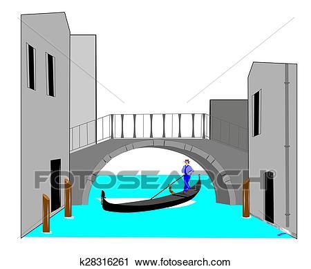 Bridge over water with gondola Clip Art.