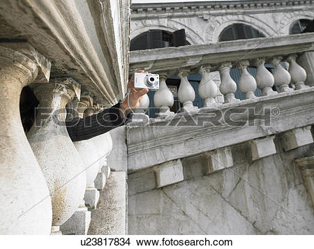 Stock Photo of Woman's hand holding digital camera taking.