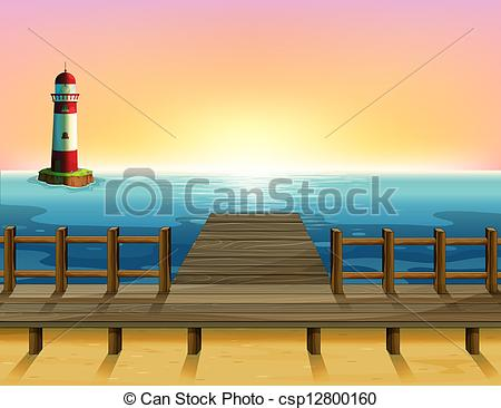 Clip Art Vector of A tall parola and the wooden bridge.