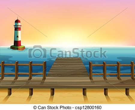 Clip Art Vector of A tall parola and the wooden bridge.