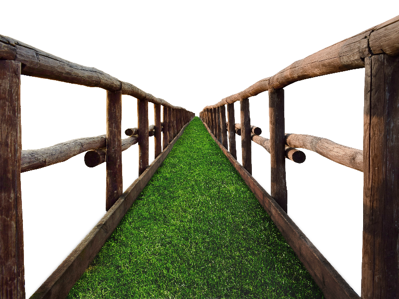 Timber Bridge PNG with Grass Stock Image (Isolated.
