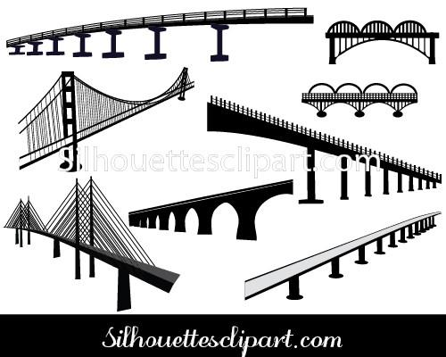 Bridge Silhouette Vector.