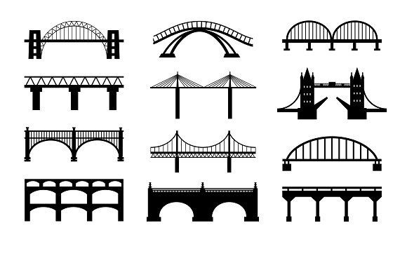 Vector bridges silhouettes icons.