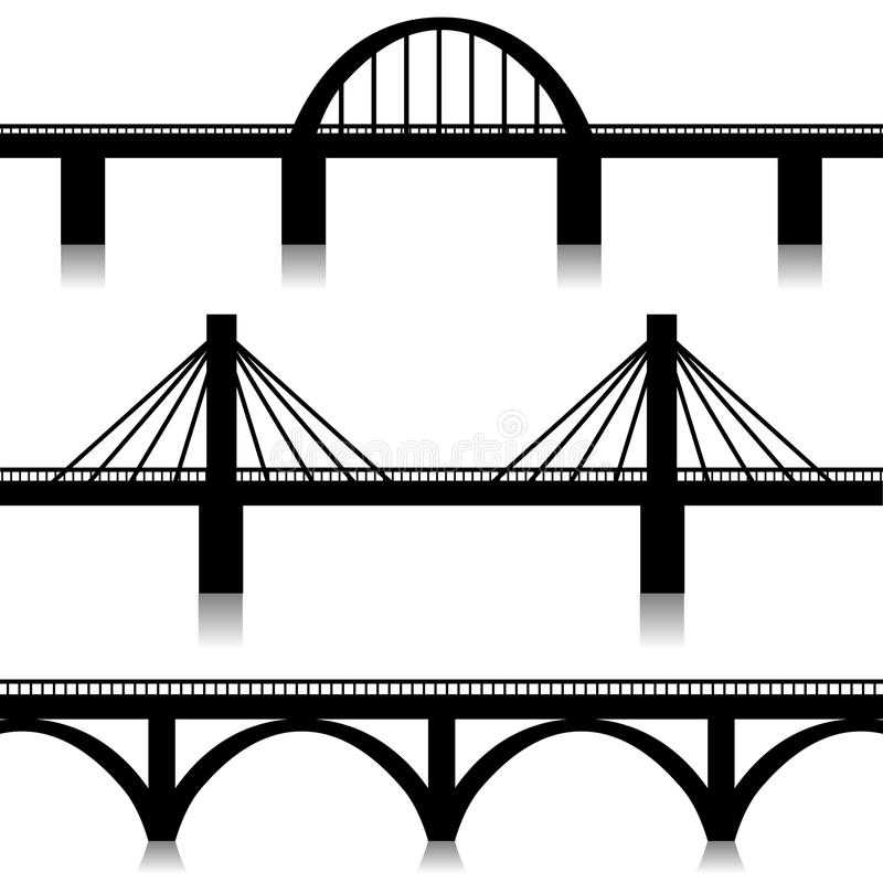 Bridges Silhouette Stock Illustrations.
