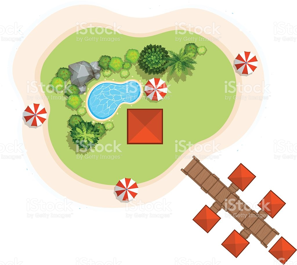 Aerial Scene With Swimming Pool And Bridge stock vector art.