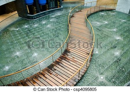 Stock Images of Bridge over pool.