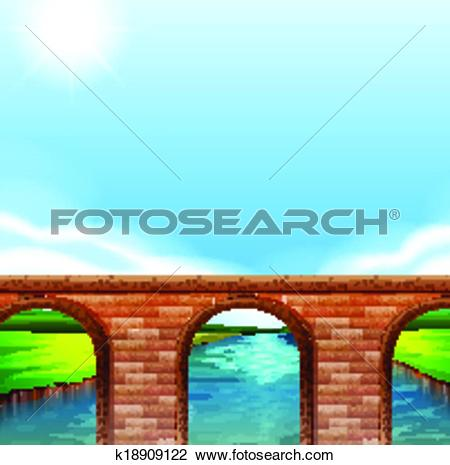 Clipart of A bridge under the bright sun k18909122.