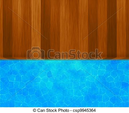 Drawing of Wooden Bridge Swimming Pool Background csp9945364.