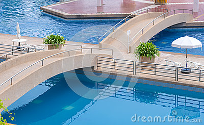 Bridge Swimming Pool Background Stock Photos.