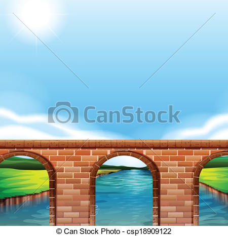 Vector Illustration of A bridge under the bright sun.