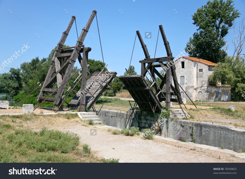 Drawbridge (Van Gogh Bridge) Through Canal Near Arles, France.