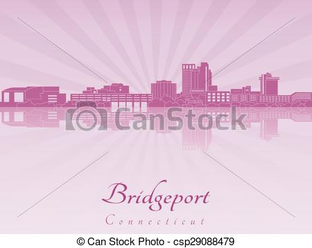 Vectors Illustration of Bridgeport CT skyline in purple radiant.