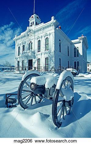 Stock Images of Mono County Courthouse winter municipal building.