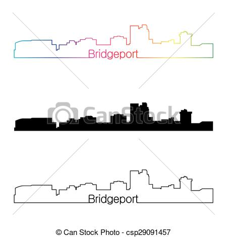 Clipart Vector of Bridgeport CT skyline linear style with rainbow.