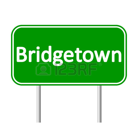 Bridgetown Road Sign Isolated On White Background. Royalty Free.