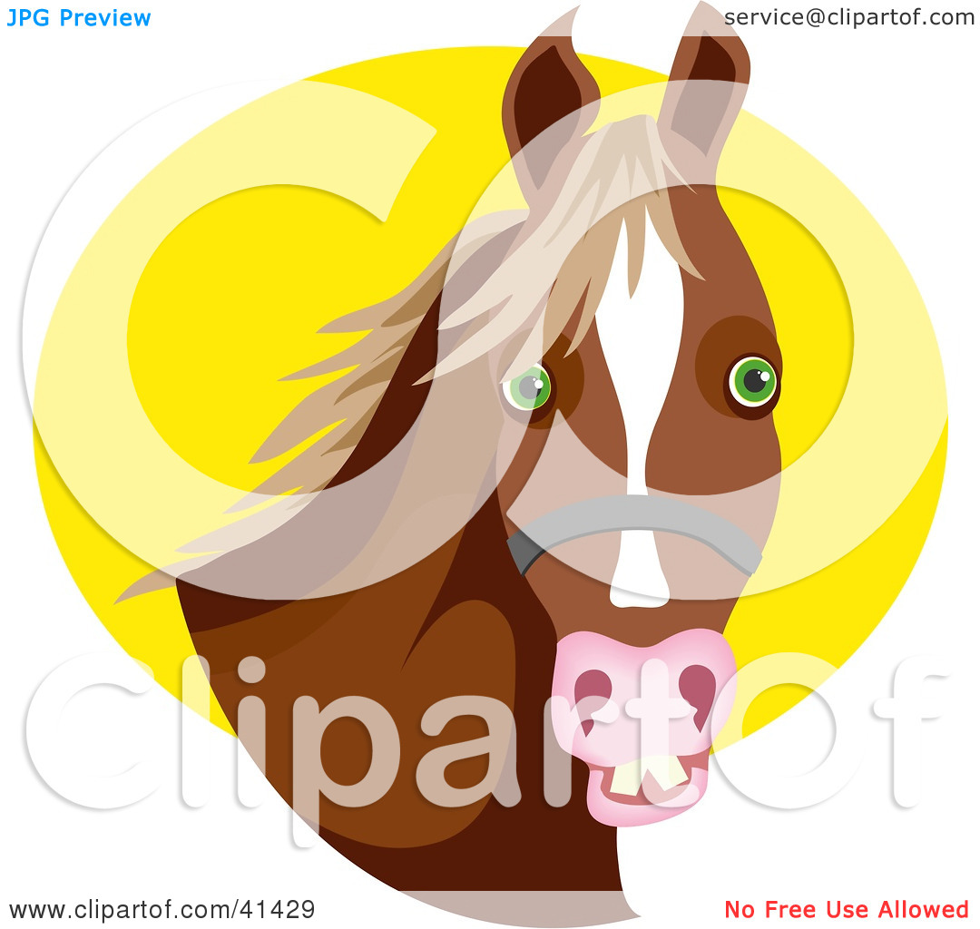 Clipart Illustration of a Bridled Brown Horse With Green Eyes.