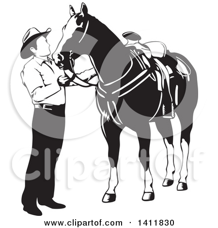 Clipart Illustration of a Black And White Bridled Horse Head by.
