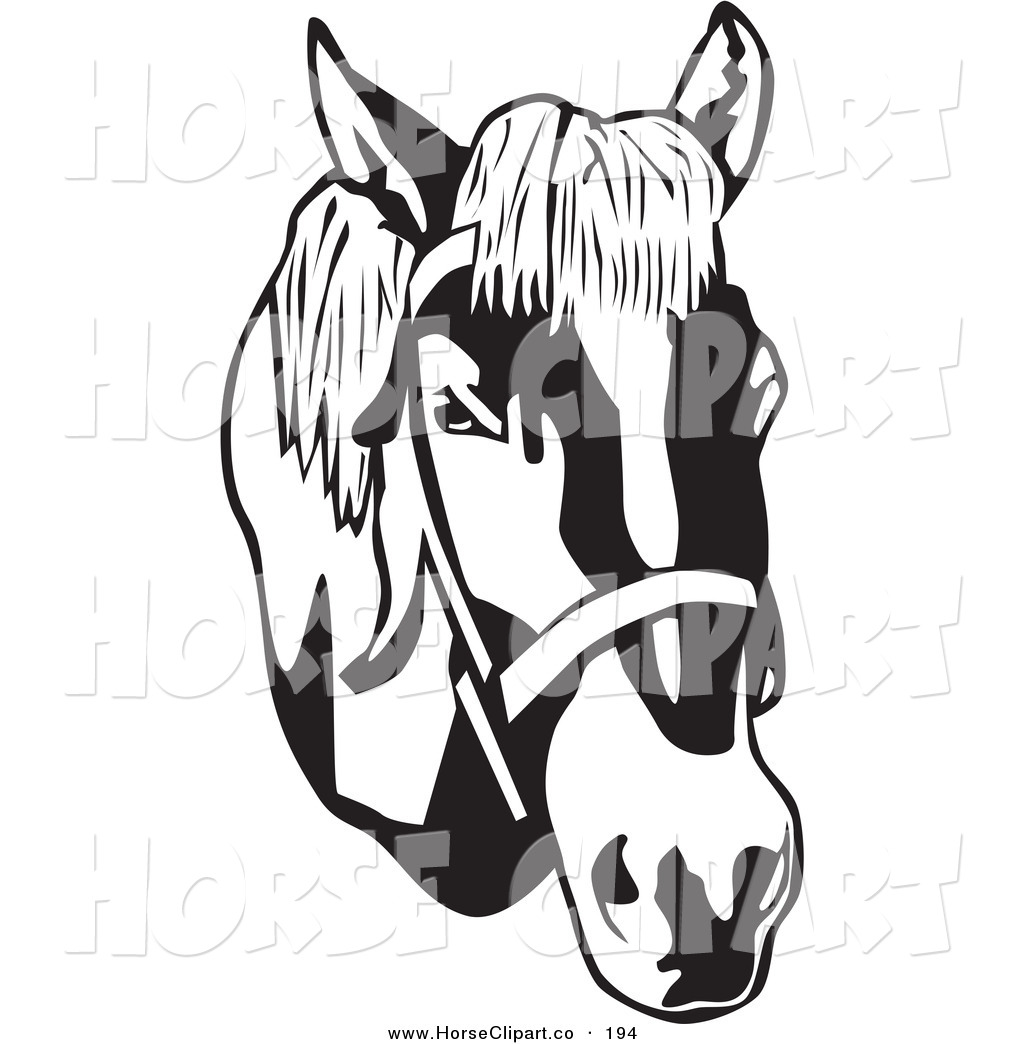 Clip Art of a Black and White Bridled Horse Head Facing Right by.