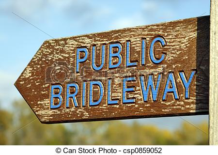 Stock Photo of public bridleway sign eaves green road meriden.