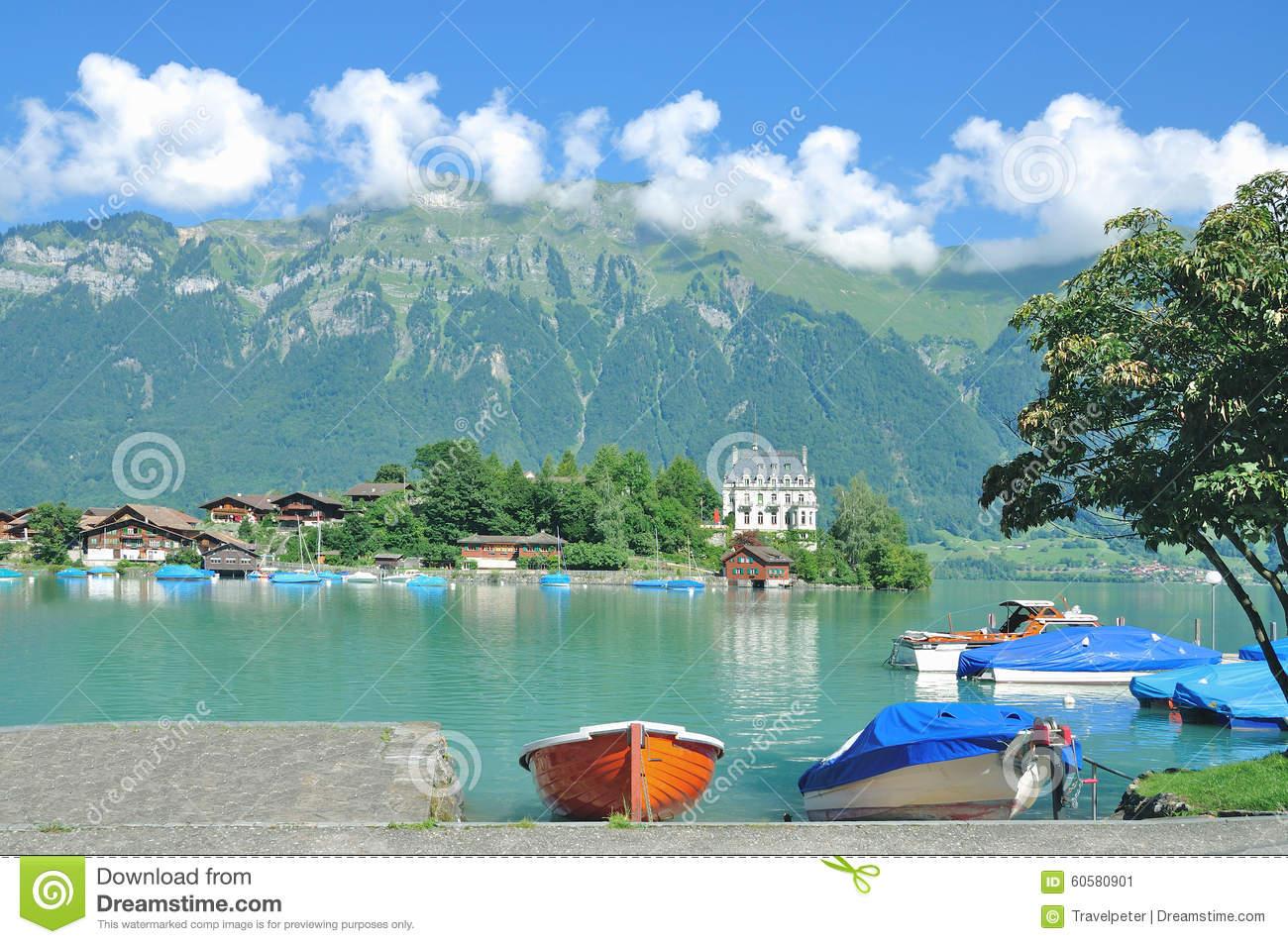 Iseltwald,Lake Brienz,Switzerland Stock Photo.