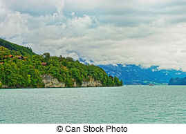 Stock Photo of Pedal Boats on Lake Brienz, Berne Canton.
