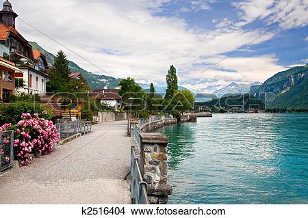 Stock Photo of Walking by the Lake in Brienz, Berne, Switzerland.