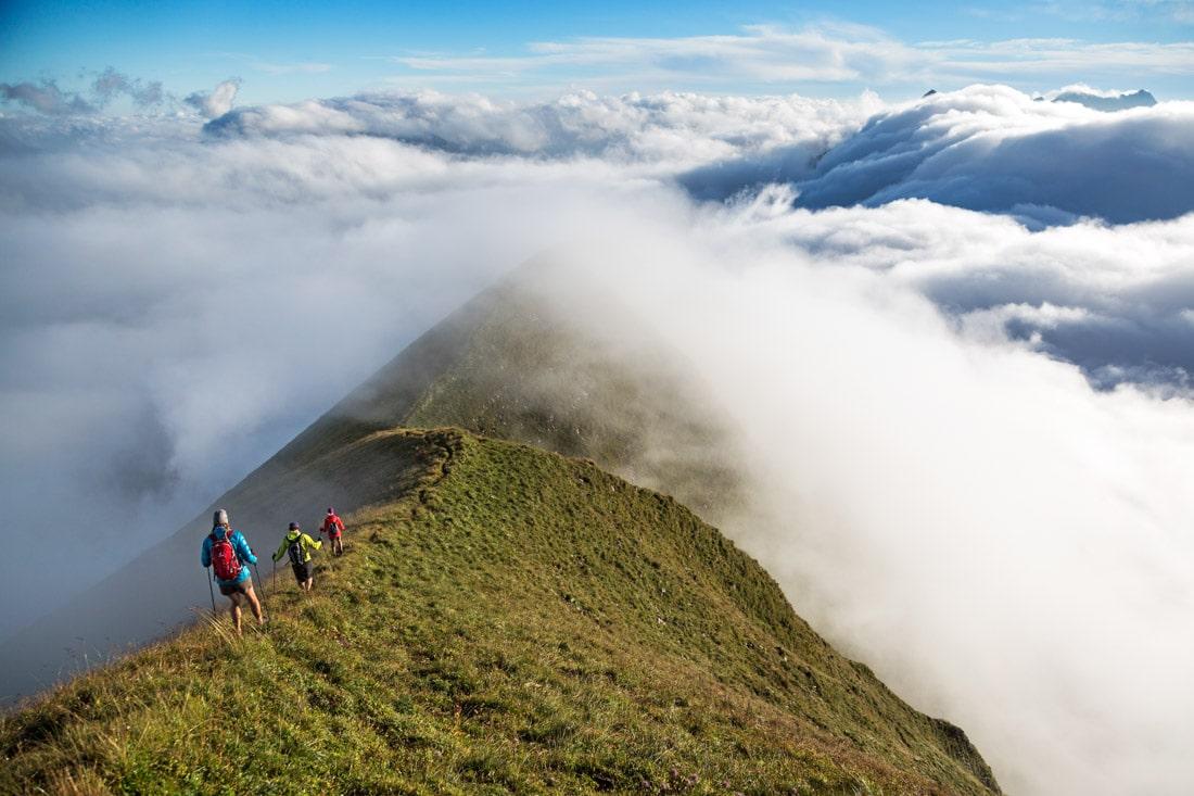 Hiking or running the Hardergrat trail between Interlaken and Brienz.