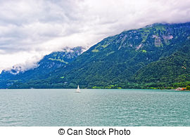 Picture of Sailboat on Lake Brienz and Brienzer Rothorn mountain.