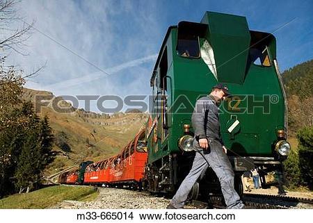 Stock Photo of Cog railway Rothorn Bahn between Brienz and.