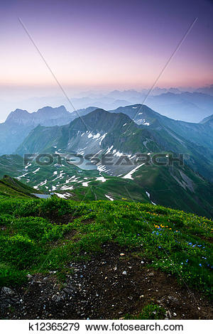 Stock Photograph of Sunrise mountain panorama from Brienzer.