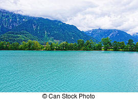 Stock Images of Church at Lake Brienz and Brienzer Rothorn.