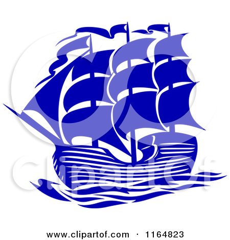Clipart of a Blue Brig Ship.