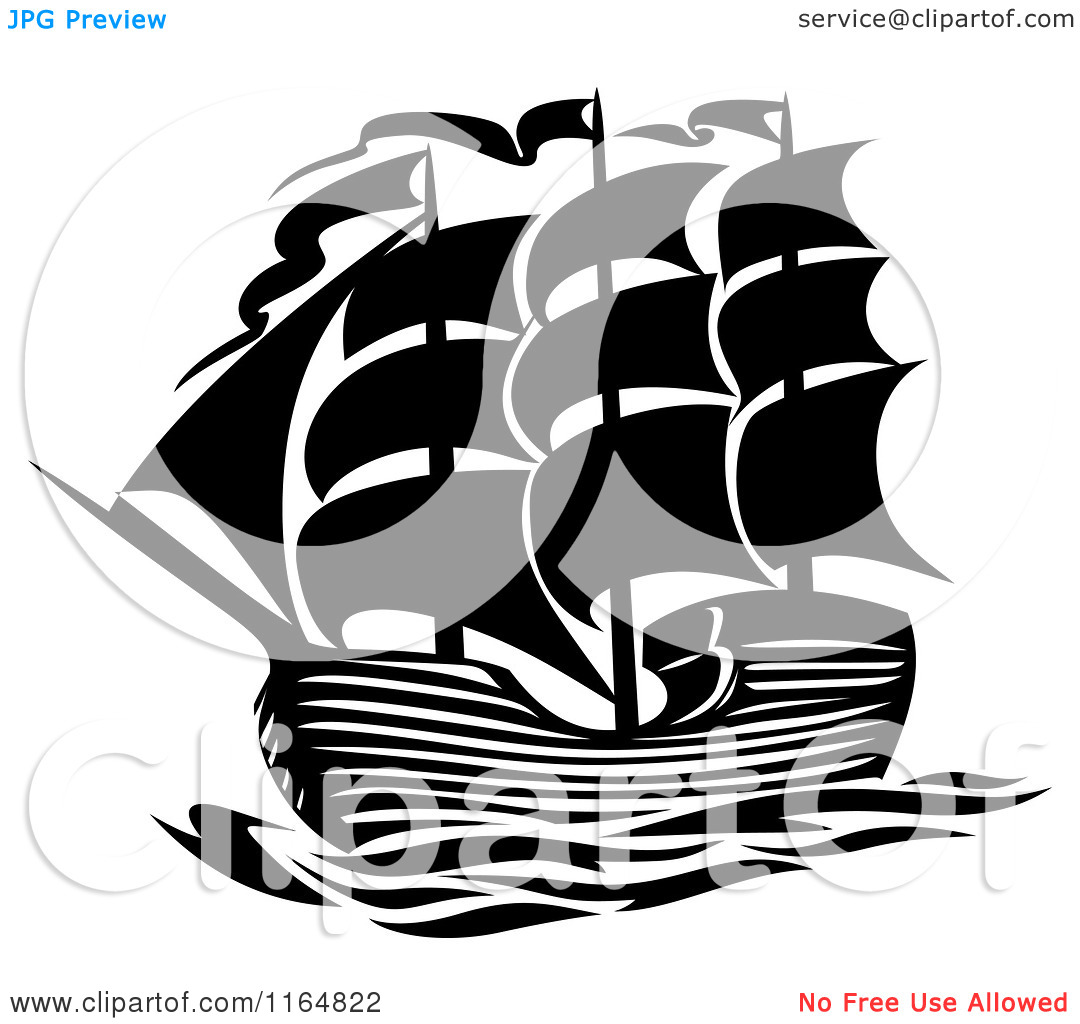 Clipart of a Black and White Brig Ship.