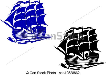 Clip Art Vector of Brig sail ship in ocean water for travel or.