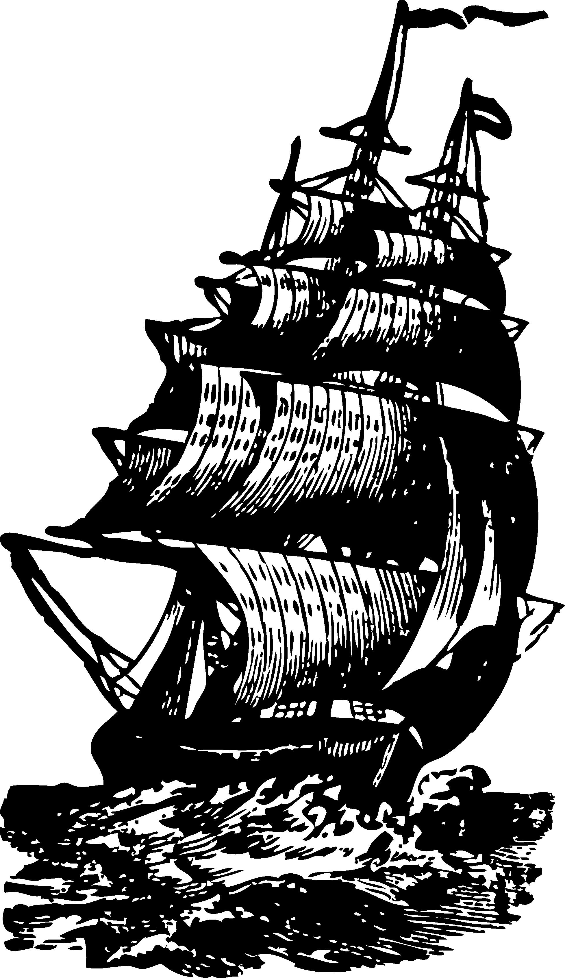Vintage Brig Ship Clip Art.