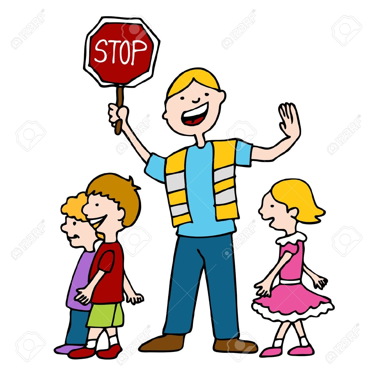 An Image Of A Crossing Guard With Children. Royalty Free Cliparts.