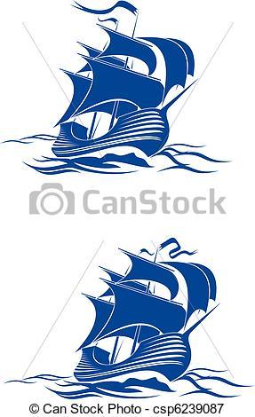 Vectors Illustration of Brigantine ship.