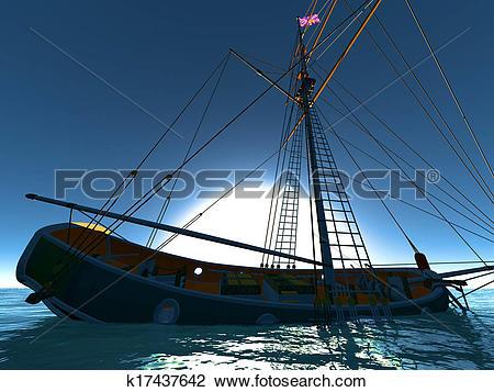 Clip Art of Pirate brigantine k17437642.